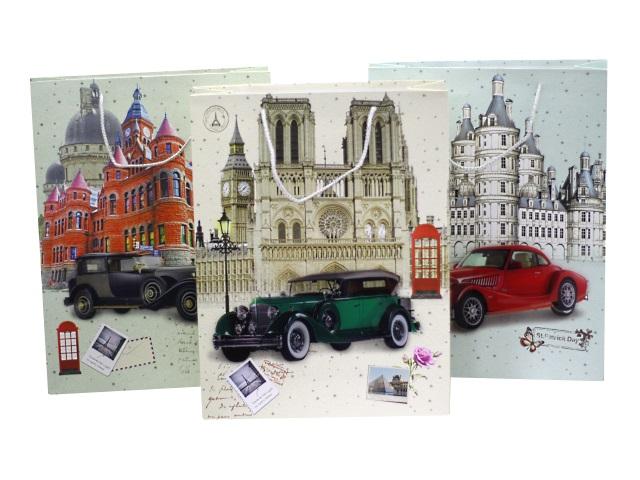 Пакет подарочный бумажный 40*30*11см Ретро автомобили Mazari М-8057