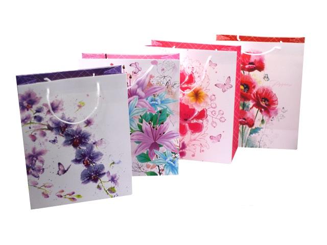 Пакет подарочный бумажный 32*26*12см Цветочная коллекция Mazari М-8095