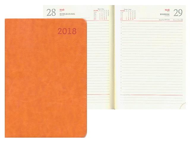 Ежедневник 2018 А5 кожзам м/обложка 168л оранжевый Mazari М-3589D-77