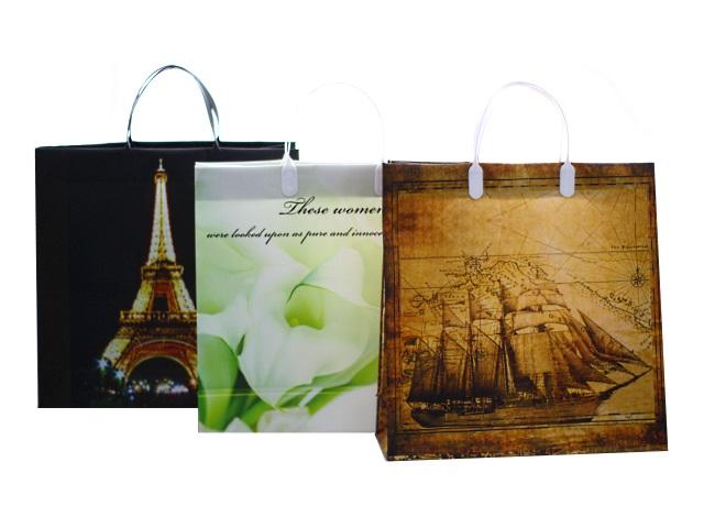 Пакет подарочный пластиковый 30*30*10 см, с пластиковыми ручками, Калейдоскоп, Mazari М-8047
