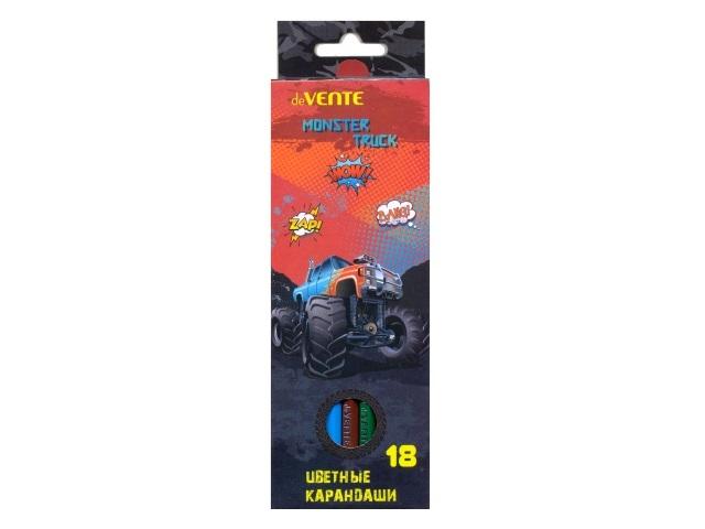 Карандаши цветные 18цв DeVente Monster Truck шестигранные 5023707