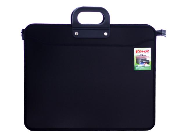 Портфель А3  3 отделения пластик черный на молнии Kanzfile 166252