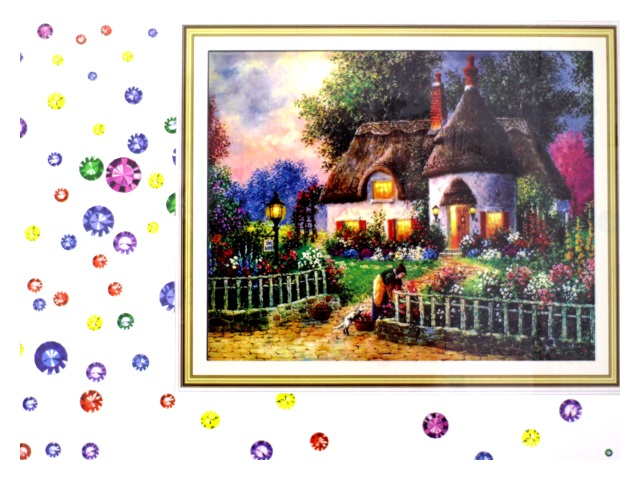 Алмазная мозаика 40*50 см Девушка у дома, Mazari М-6437