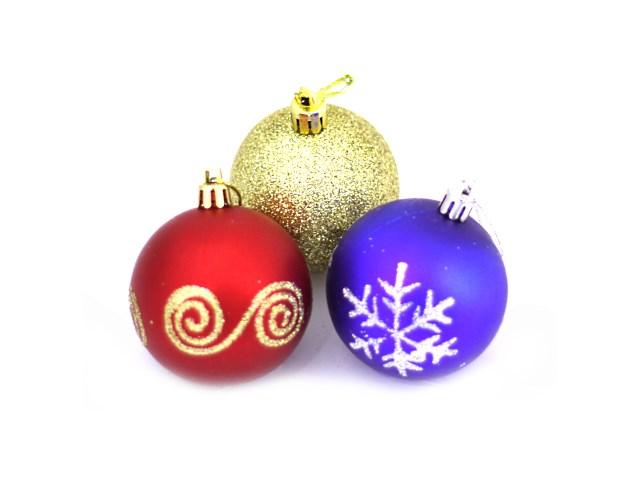 Елочная игрушка Шарики D= 6 см, с рисунком и блеском, цвета в ассортименте, 12 шт. одного цвета в тубе