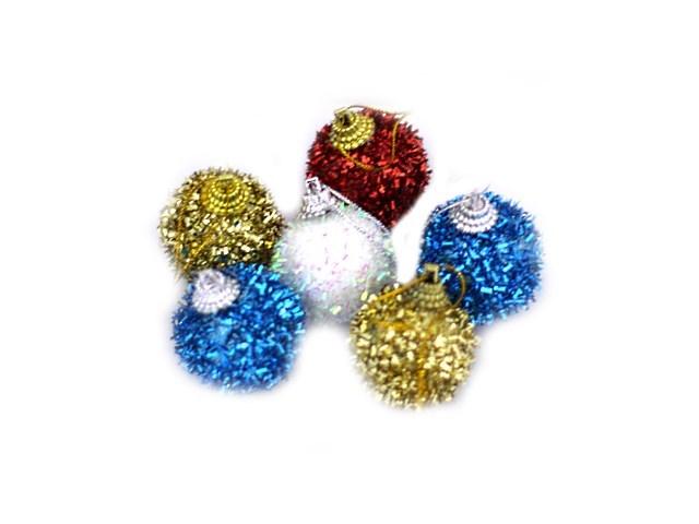 Елочная игрушка Шарики D= 3.5 см с мишурой и блеском, цвета в ассортименте, 6 шт. в пакете