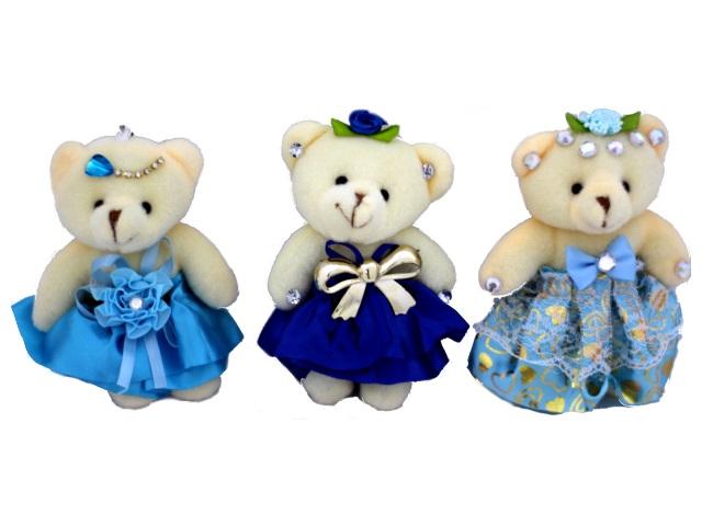 Брелок мягкая игрушка Мишка в платье, в пакете