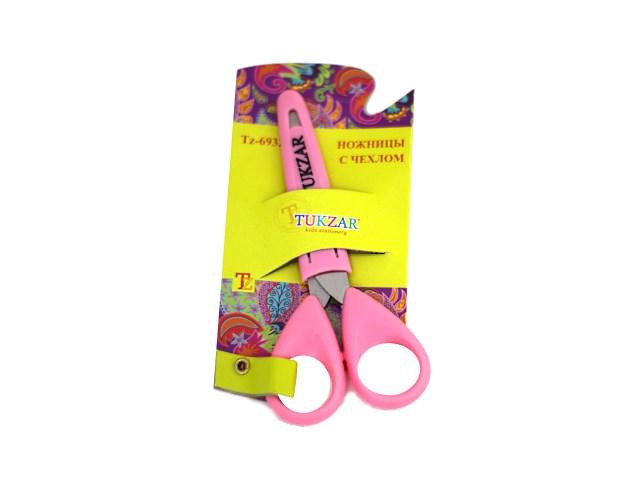 Ножницы 13 см детские с пластиковыми ручками в чехле на блистере, Tukzar TZ 6932