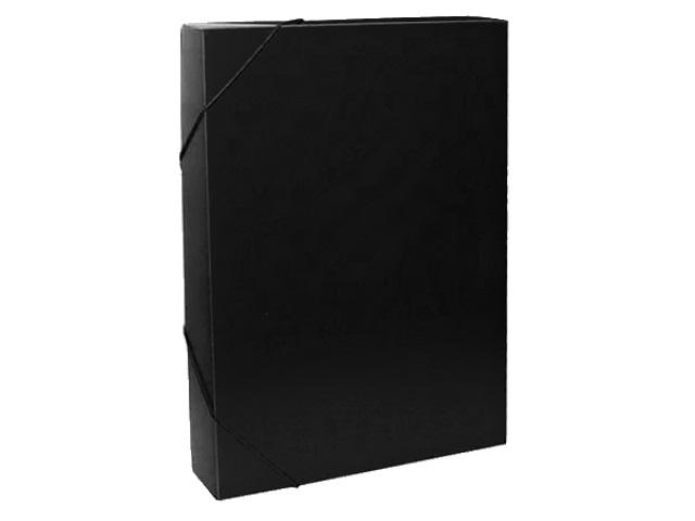 Папка архивная пластик на резинке А4  4см Бюрократ черная 816205