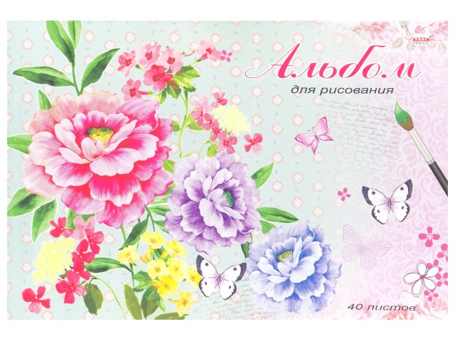 Альбом 40л А4 клееный Нежные цветочки 100 г/м2 Prof Press 40-2122