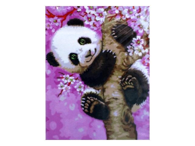 Картина по номерам 30*40см Панда на розовом дереве Schreiber S-3758