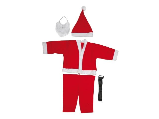 Костюм Деда Мороза детский, на 6-9 лет (куртка, брюки, шапка, борода) в пакете