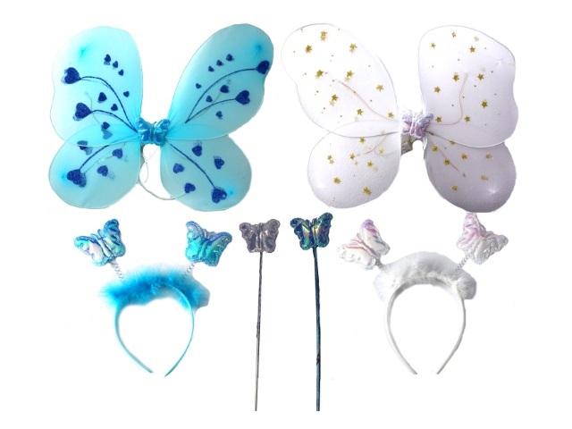 Крылья Бабочки цветные + палочка на батарейках светящаяся + обруч в пакете 170703-3