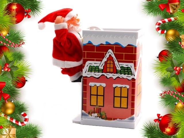 Дед Мороз на дымоходе 20см музыкальный