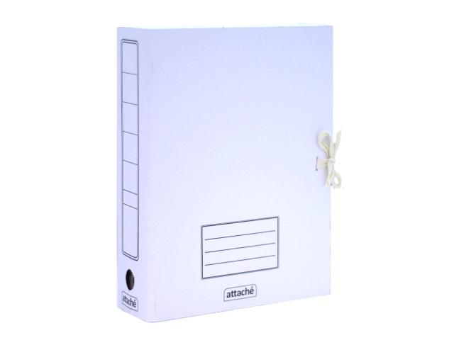 Папка архивная картон на завязках А4  7.5см белая Attache 128990