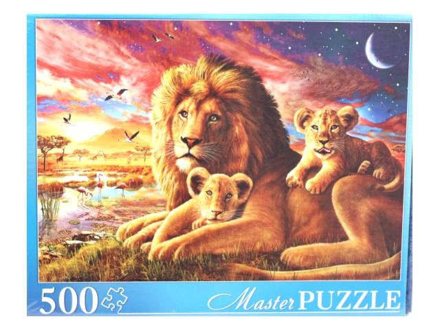 Пазлы  500 деталей Львы на закате Masterpuzzle МГМП500-6168/6