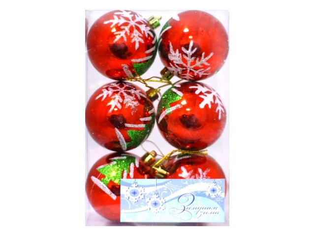 Ёлочная игрушка Шар Елочки/Снежинки, набор 6 шт. в коробке, Josef Otten 6293-6