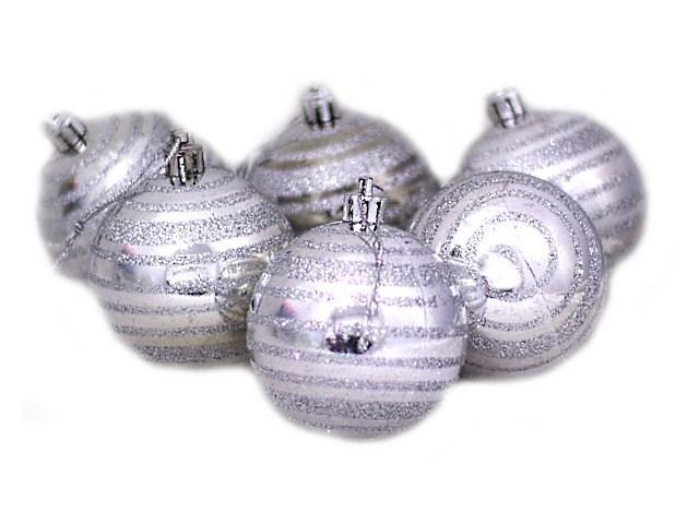 Ёлочная игрушка набор  6шт Шар Полоски D=5.5см J.Otten 6294-6