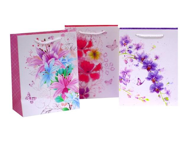 Пакет подарочный бумажный Цветочная коллекция 23*18*10 см, Mazari М-8094