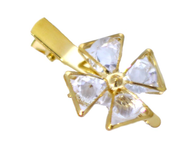 Заколка Цветок со стразами золотистый