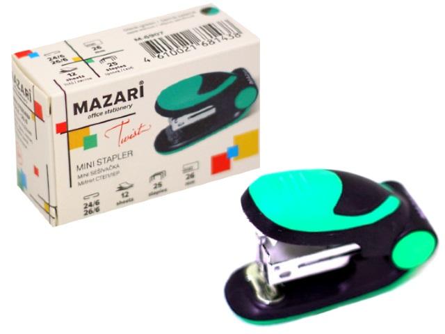 Степлер №24/6-26/6 12л мини Mazari пластик Twist цветной М-6907