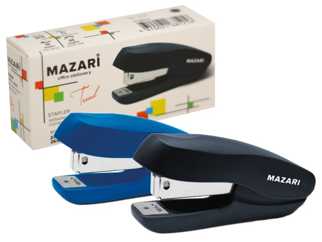 Степлер №24/6-26/6 15л Mazari Trend пластик цветной М-6903