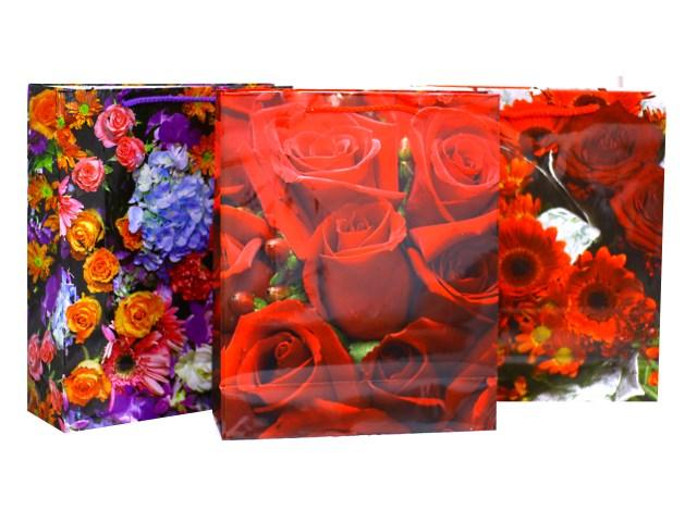 Пакет подарочный бумажный 32*26*10см Цветы Mazari М-8037