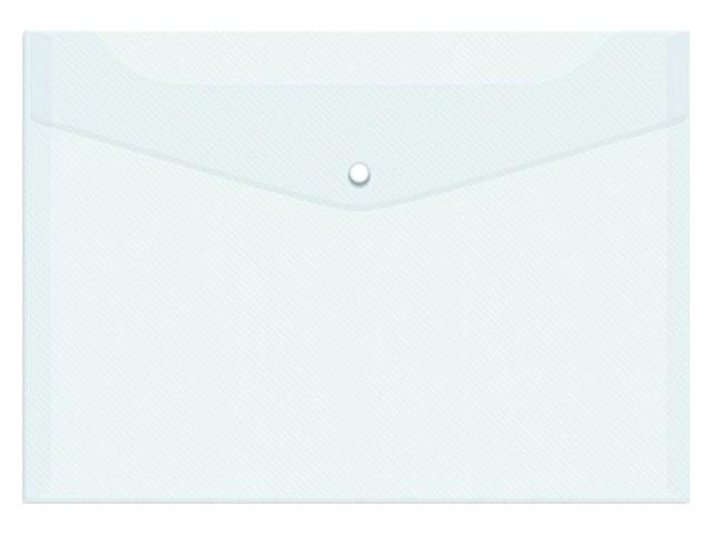 Папка конверт на кнопке А4 белая прозрачная 0.12мм Silwerhof 255080-00