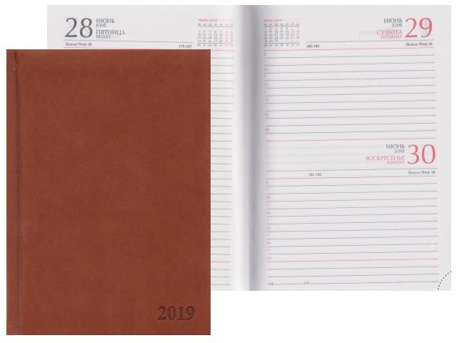 Ежедневник 2018 А5 кожзам 168л Глосс светло-коричневы Prof Press 168-4204