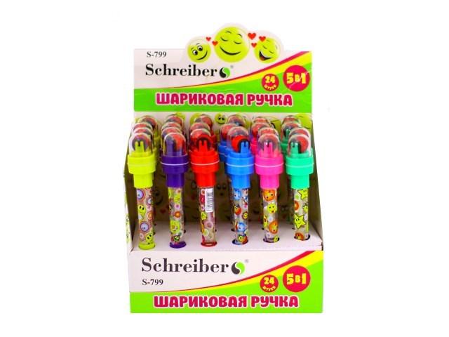 Ручка шариковая 5 в 1 синяя 0.7 мм (ручка, 2 штампа, мыльные пузыри, фонарик) Schreiber S-799