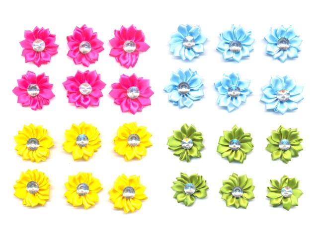 Декоративные элементы Бантики-цветочки со стразами 10*14 см S-1070