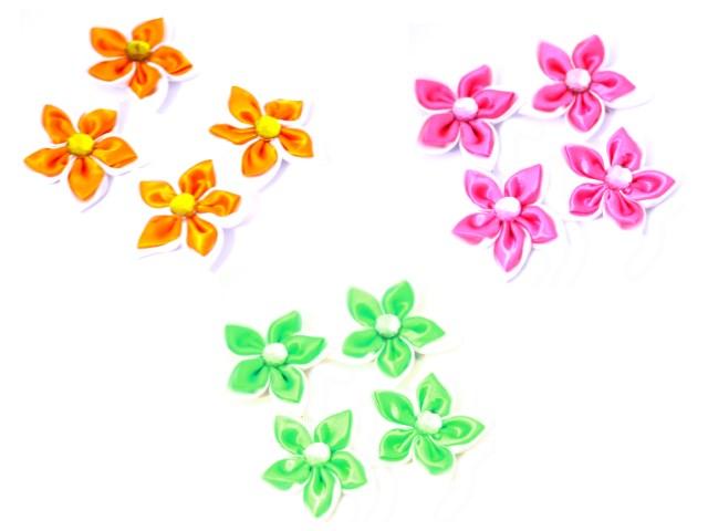 Бантики-цветочки со стразами 10*14 см S-1071
