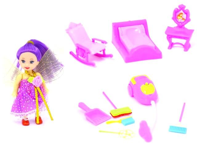 Кукольный набор Кукла Фея, Мебель, Бытовая техника ассорти 90040