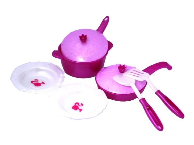 Посуда 9 предметов Барби пластик 637