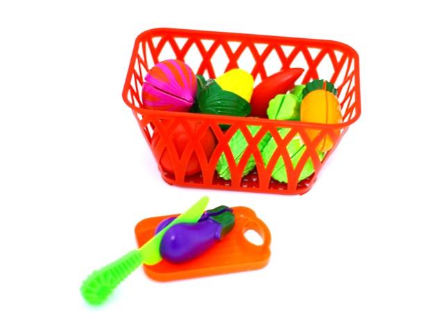 Продукты 10 предметов в корзинке с доской и ножом для резки пластик К15