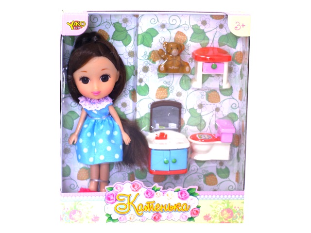 Кукла Катенька 16.5 см с ванной комнатой М6609