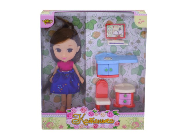 Кукла Катенька 16.5 см с мебелью М6611