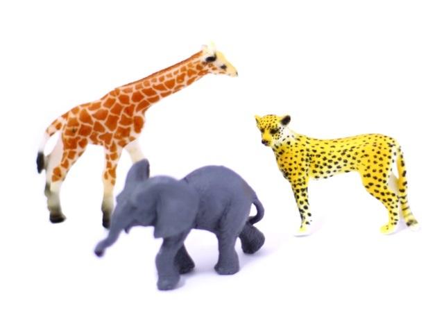 Дикие животные 3 шт. пластик 8-12 см Jungle Animal 2А003 в пакете