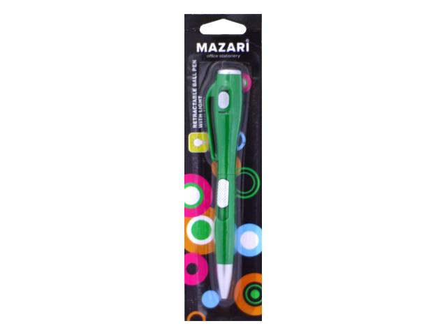 Ручка шариковая автомат Mazari Lumen синяя 0.7мм с фонариком M-7304