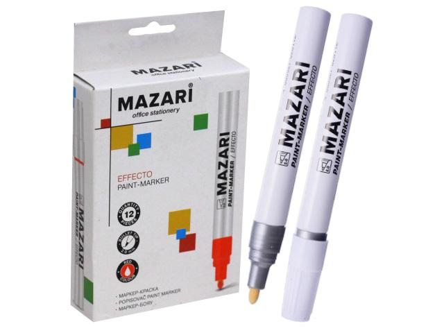 Маркер краска Mazari серебро 2мм М-5008-95