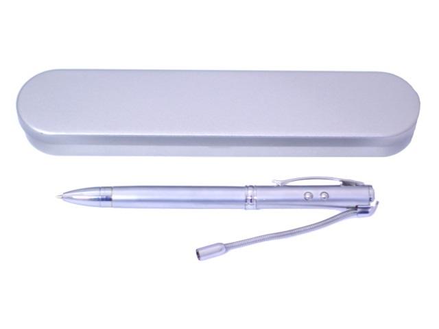 Ручка шариковая поворотная Mazari M-7324 металл синяя 0.7мм фонарик лазер у/ф в футляре