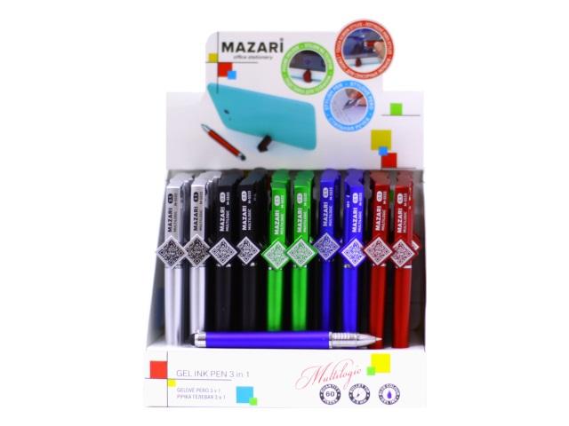 Ручка гелевая Multilogic синяя 0.5 мм с подставкой для телефона и стилусом, Mazari M-5533