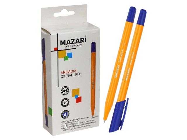 Ручка шариковая Mazari Arcadia синяя 1мм трехгранная M-5715-70\24\576\1152