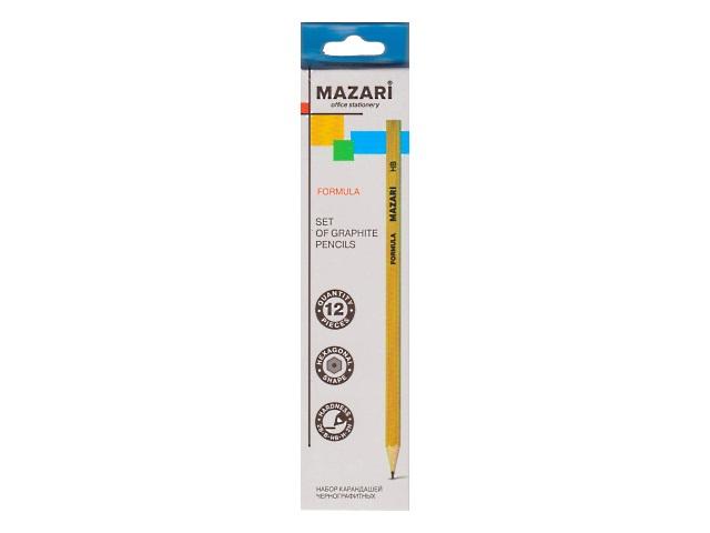 Карандаши 12 шт. 2В-2Н Mazari Formula шестигранные без ластика M-6130