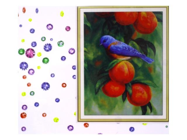 Алмазная мозаика 40*50 см Попугай и персики, Mazari M-6432