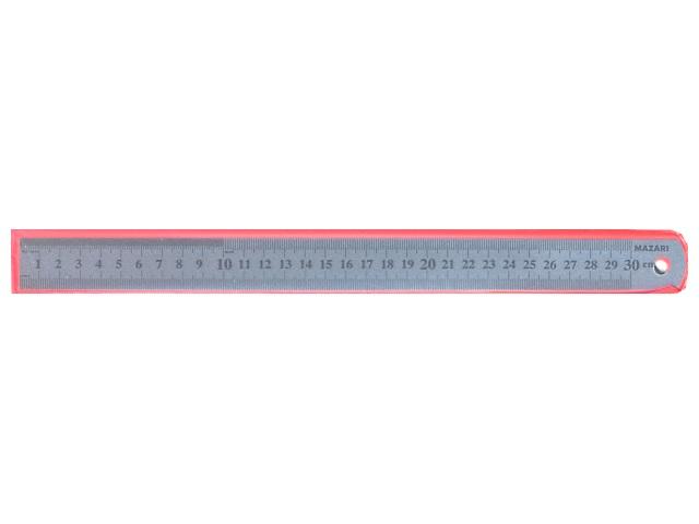 Линейка  30 см металл в чехле Mazari M-5563