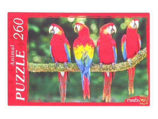 Пазлы  260 деталей Красные попугаи КБ260-4009