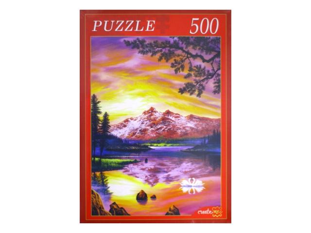Пазлы  500 деталей Зарево над озером АЛ500-7018