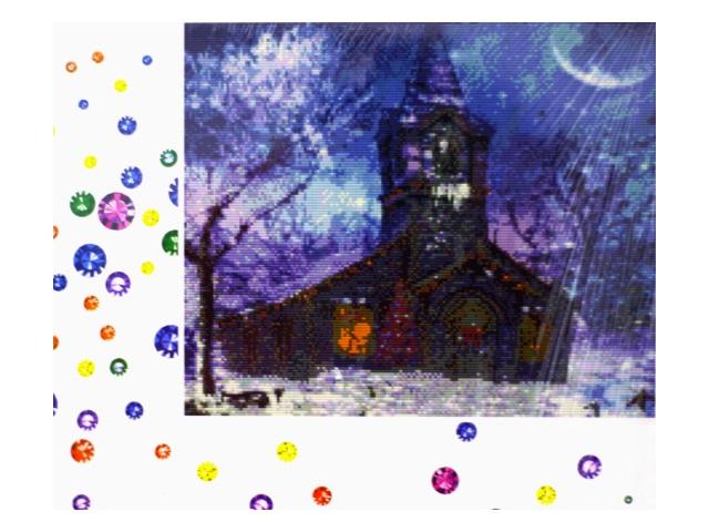 Алмазная мозаика 40*50 см Часовня зимой, Mazari M-6417