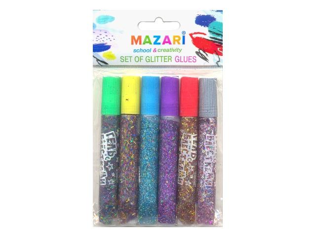 Клей с блестками 6 цветов по 10 мл Mazari М-5659