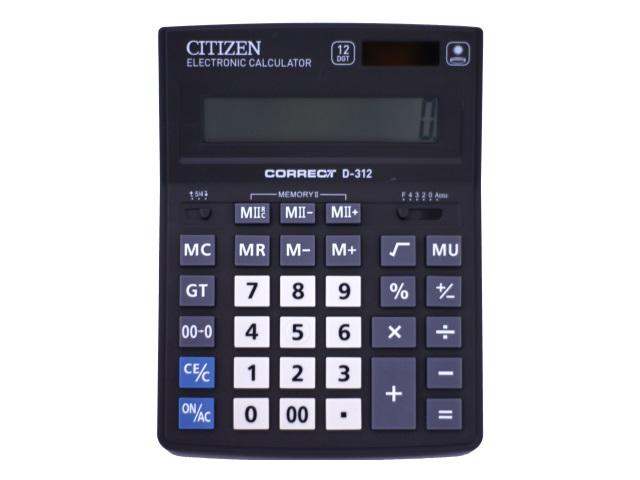Калькулятор СITIZEN 12-разрядный черный 20.5*15.5 см Correct D-312